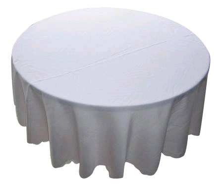 Where to find Tablecloth 120  RND - White Polyester in Grand Cayman