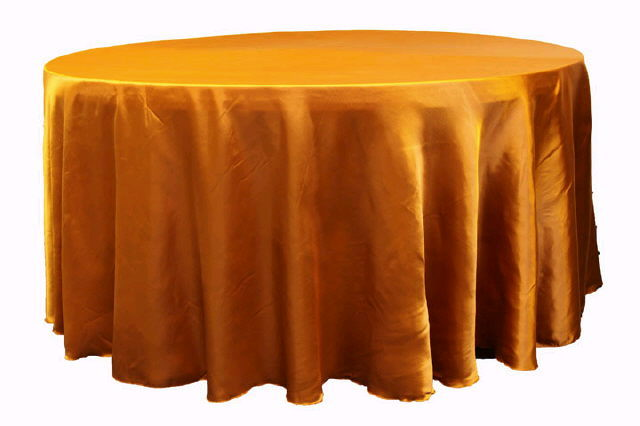 Where to find Tablecloth 132  RND - Orange Satin in Grand Cayman