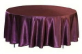 Rental store for Tablecloth 132  RND - Plum Satin in Grand Cayman KY