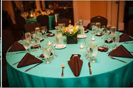 Where to find Tablecloth 132  RND -Tiff Blue PolySatin in Grand Cayman