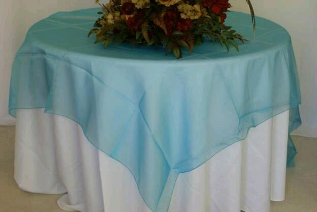 Where to find Overlay 100 x100  Sq. - Lt Blue Organza in Grand Cayman