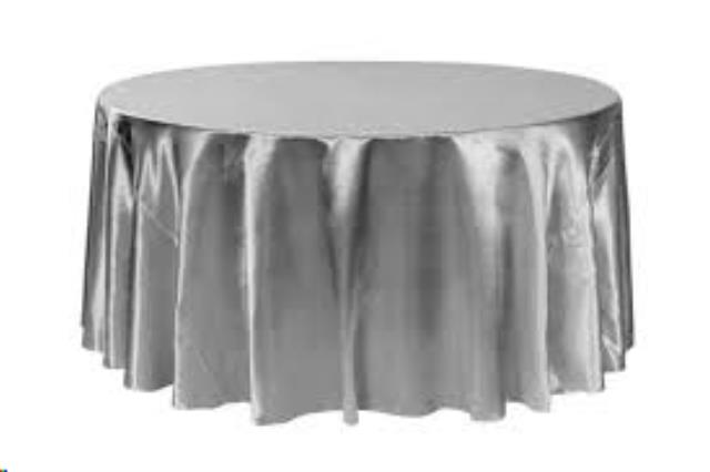 Where to find Tablecloth 132  RND - Silver Satin in Grand Cayman