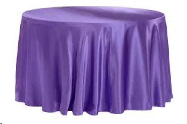 Where to find 132  RND Tablecloth - Purple Spandex in Grand Cayman