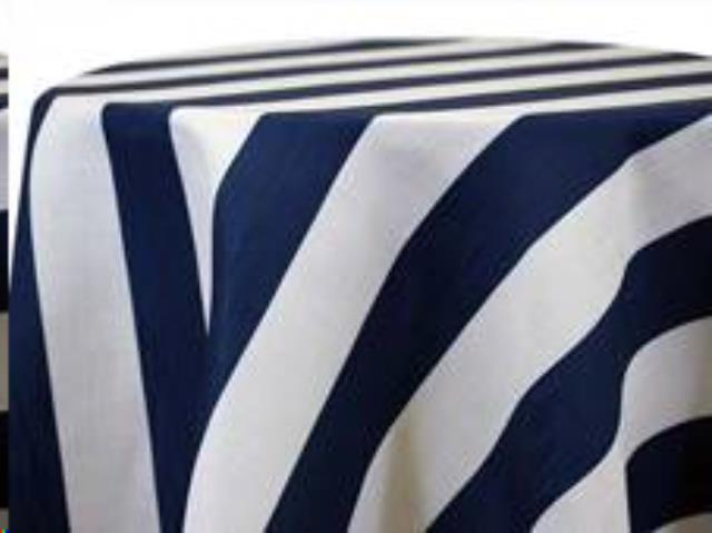 Where to find Tablecloth 132  RND - Blue Striped Poly in Grand Cayman