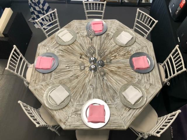 Where to find 6ft Octagon Table White Wash - Wood in Grand Cayman